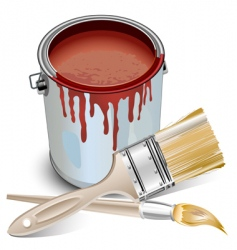 tin with paint and brushes vector image vector image