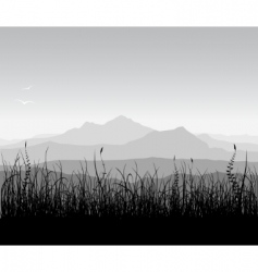 landscape with grass and mount vector image vector image