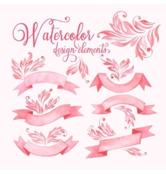 Watercolor ribbons set vector image