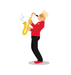 young man playing sax cartoon character saxophone vector image