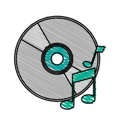 colorful crayon silhouette of music compact disc vector image