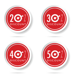 discount icon set on red button vector image