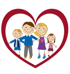 family in a heart vector image vector image