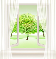 Summer background with an open window and green vector image