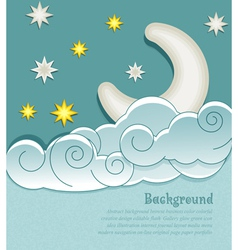 vintage background with the moon clouds and stars vector image vector image