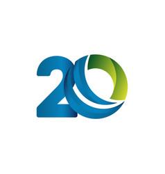 20 years anniversary celebration blue green vector