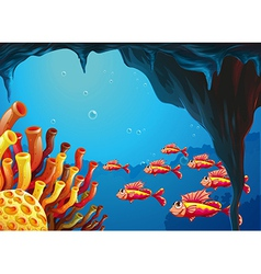 A school of fishes going to the coral reefs inside vector