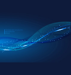 abstract blue lines wave glowing light element vector image