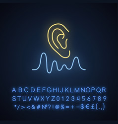 Acoustics neon light icon sound transmission and vector