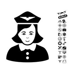 Airline Stewardess Icon With Flying Drone Tools vector