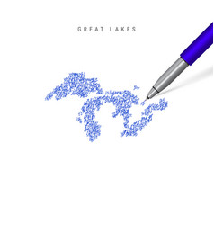 All great lakes sketch scribble map isolated vector