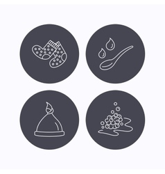 Baby clothes bath and hat icons vector image