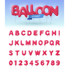 Balloon alphabet realistic icon set vector
