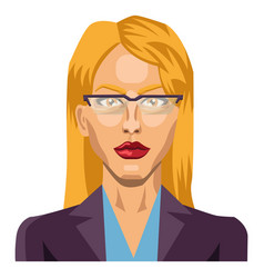 blonde girl with glasses on white background vector image