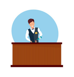 boy is standing behind bar preparing cocktails vector image