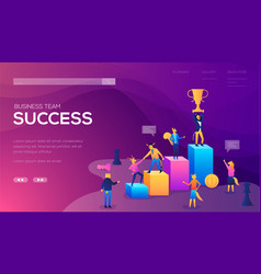Business team success landing page template vector