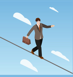 businessman balancing on rope isometric vector image vector image