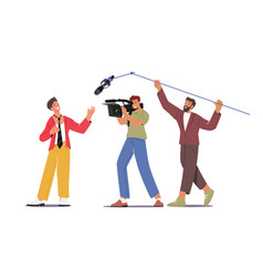 Cameraman with camera and crew holding microphone vector