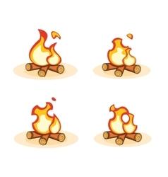 Cartoon bonfire with burning animation vector image
