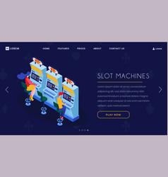 Casino slot machines isometric landing page vector