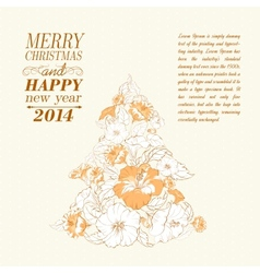 Chrismas fir tree from flowers vector