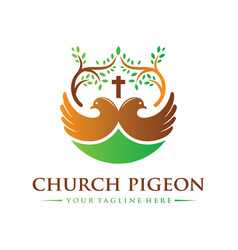christian religious dove logo design vector image