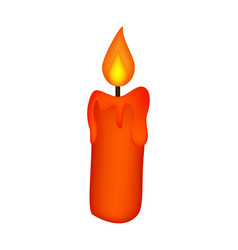 christmas candle burning wax candle icon symbol vector image