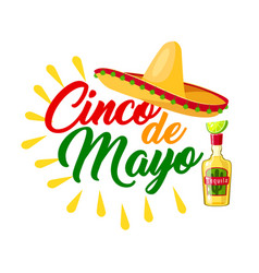 Cinco de mayo mexican holiday icon with sombrero vector
