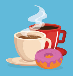 coffee and donut delicious food breakfast menu vector image