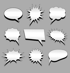 comic blank speech bubbles set vector image