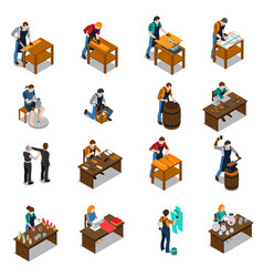 Craftsman isometric icons set vector