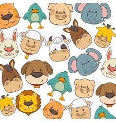 cute animals heads pattern vector image