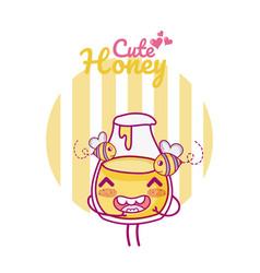 Cute honey jar kawaii cartoon vector