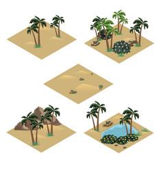 Desert landscape isometric tile set vector