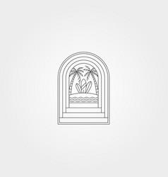 Door with beach surf creative logo symbol design vector