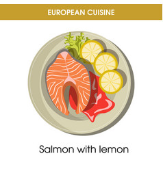european cuisine salmon fish traditional dish food vector image