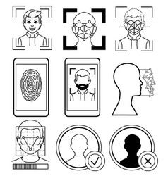 facial recognition fingerprint sketch vector image