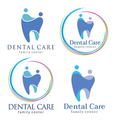 Family dental logos vector