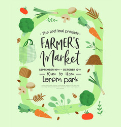 farmers market poster template green vegetables vector image