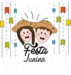 Festa junina with flags party and brazilian head vector