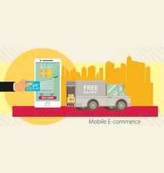 Flat design concept e-commerce vector