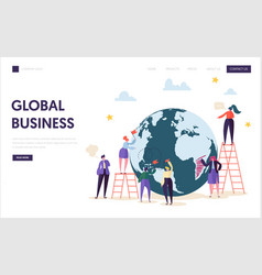 global business team character landing page vector image