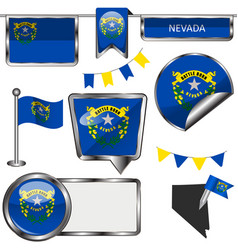 Glossy icons with flag of state nevada vector