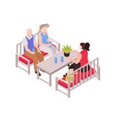 Grand parents table composition vector