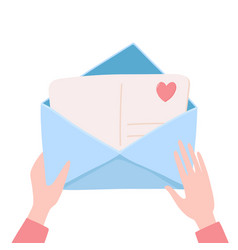 Hands holding opening envelope with love letter vector