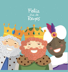 Happy three kings smiling and spanish text on a vector