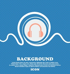 Headphones icon sign Blue and white abstract vector