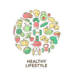 healthy lifestyle abstract color concept layout vector image