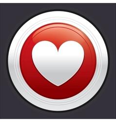Heart button red round sticker vector image