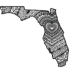 Heart in florida state map vector